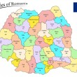 Counties of romania — Imagen vectorial