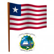 Liberia wavy flag — Stock Vector