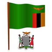 Zambia wavy flag — Stock Vector