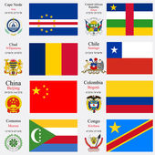 World flags and capitals set 5 — Stock Vector