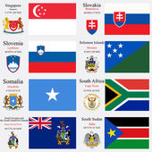 World flags and capitals set 22 — Stock Vector