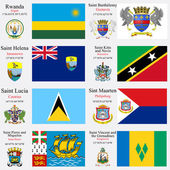 World flags and capitals set 20 — Vetor de Stock