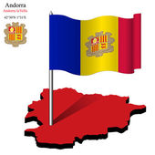 Andorra wavy flag over map — Stock Vector