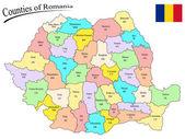 Counties of romania — Stock Vector