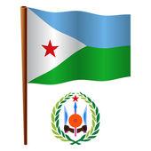 Djibouti vågiga flagga — Stockvektor