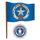 Northern mariana island wavy flag — Stock Vector
