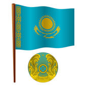 Kazakhstan wavy flag — Stock Vector