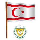 Turkish republic of northern cyprus wavy flag — Stock Vector