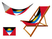 Antigua and barbuda hammock and deck chair set — Stock Vector