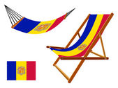 Andorra hammock and deck chair set — Stock Vector