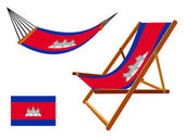 Cambodia hammock and deck chair set — Stock Vector