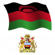 Malawi wavy flag and coat — Stock Vector