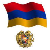 Armenia wavy flag and coat — Stock Vector