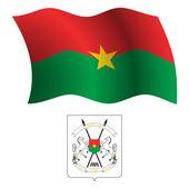 Burkina faso wavy flag and coat — Stock Vector