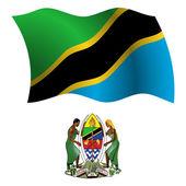 Tanzania wavy flag and coat — Stock Vector