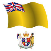 Niue wavy flag and coat — Stock Vector