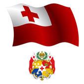 Tonga wavy flag and coat — Stock Vector