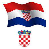 Croatia wavy flag and coat — Stock Vector