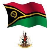 Vanuatu wavy flag and coat — Stock Vector
