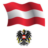 Austria wavy flag and coat — Stock Vector