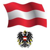 Austria wavy flag and coat — Stock Vector