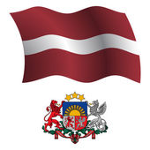 Latvia wavy flag and coat — Stock Vector