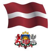 Latvia wavy flag and coat — Stock Vector