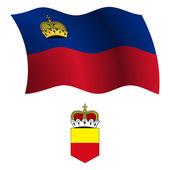 Liechtenstein wavy flag and coat — Stock Vector