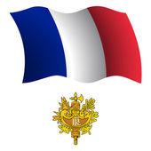 France wavy flag and coat — Stock Vector