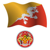 Bhutan falisty flaga i herb — Wektor stockowy