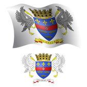 Saint barthelemy wavy flag and coat — Stock Vector