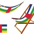 Central african republic hammock and deck chair set — Stock Vector