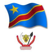 Congo textured wavy flag vector — Stock Vector