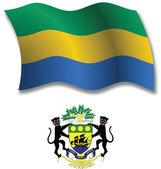 Gabonese republic textured wavy flag vector — Stock Vector