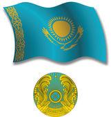 Kazakhstan textured wavy flag vector — Stock Vector