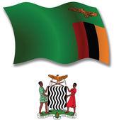 ザンビア テクスチャ波状フラグ ベクトル — ストックベクタ