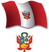 Peru textured wavy flag vector — Stock Vector