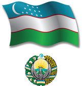 Uzbekistan textured wavy flag vector — Stock Vector