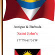 Antigua and barbuda wavy flag and coordinates — Stock Vector