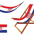 Croatia hammock and deck chair set — Stock Vector