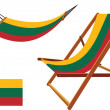 Lithuania hammock and deck chair set — Stock Vector