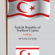 Turkish republic of northern cyprus wavy flag and coordinates — Stock Vector #40019323