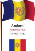 Andorra wavy flag and coordinates — Stock Vector