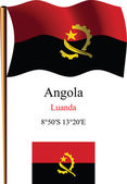 Angola wavy flag and coordinates — Stock Vector