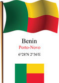 Benin wavy flag and coordinates — Stock Vector