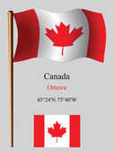 Canada wavy flag and coordinates — Stock Vector