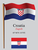 Croatia wavy flag and coordinates — Stock Vector