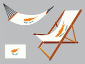 Cyprus hammock and deck chair set — Stock Vector