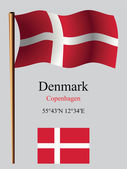 Denmark wavy flag and coordinates — Stock Vector