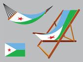 Djibouti hammock and deck chair set — Stock Vector